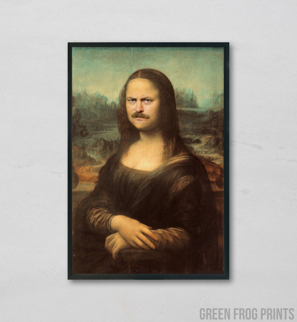 Ron Swanson Nick Offerman Mona Lisa Face | Funny Poster Print For Parks & Rec Fans