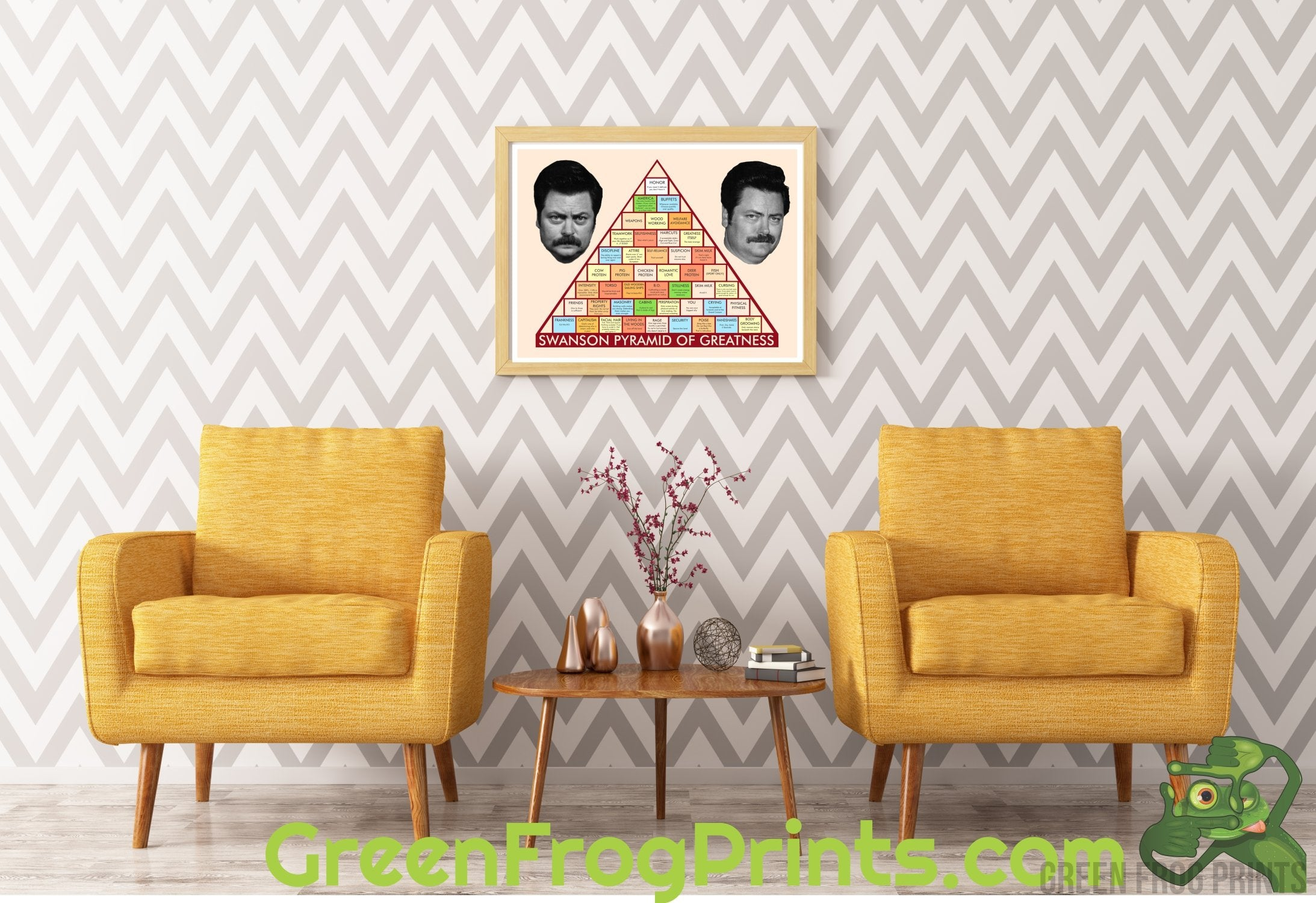 photo relating to Ron Swanson Pyramid of Greatness Printable Version referred to as Notable Tv set Clearly show Poster Prints Wall Decor Inexperienced