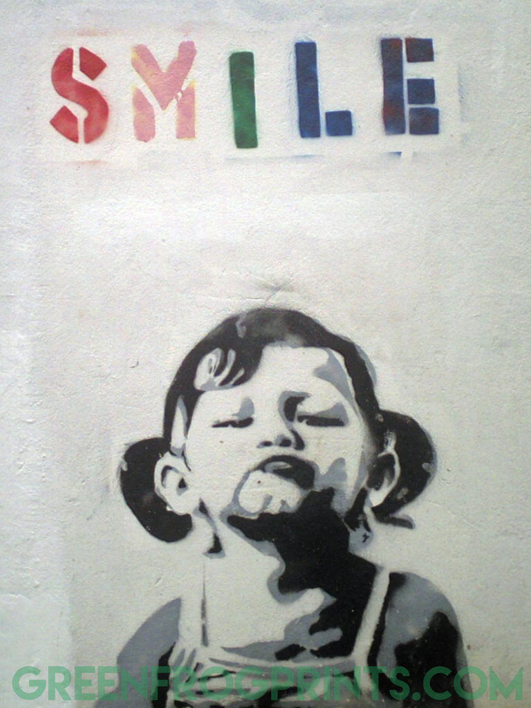 Banksy Girl With Smile Poster Print Wall Graffiti Art Decor