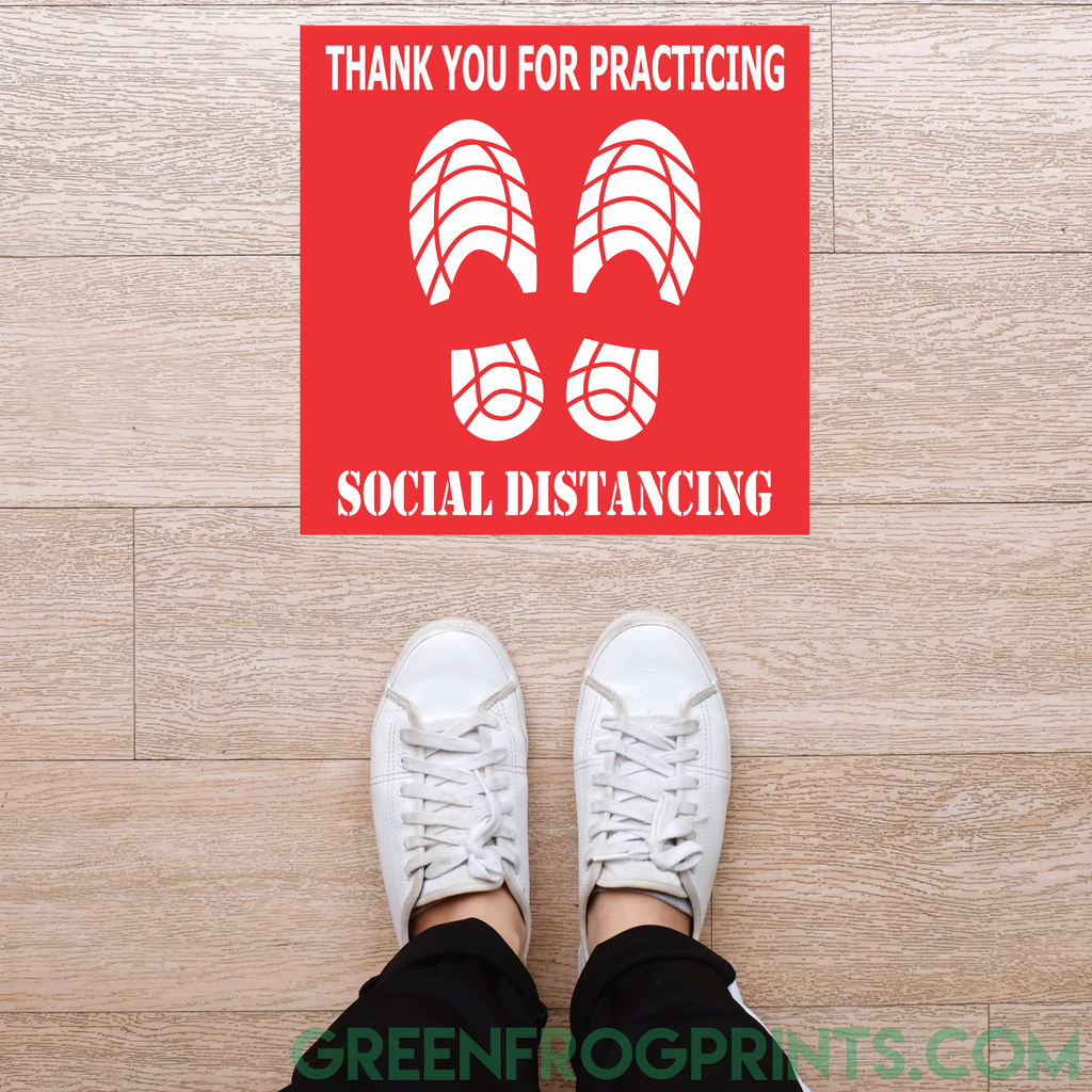 Social Distancing Floor Self Adhesive Sticker Decals for COVID19 Virus Protection & Crowd Control