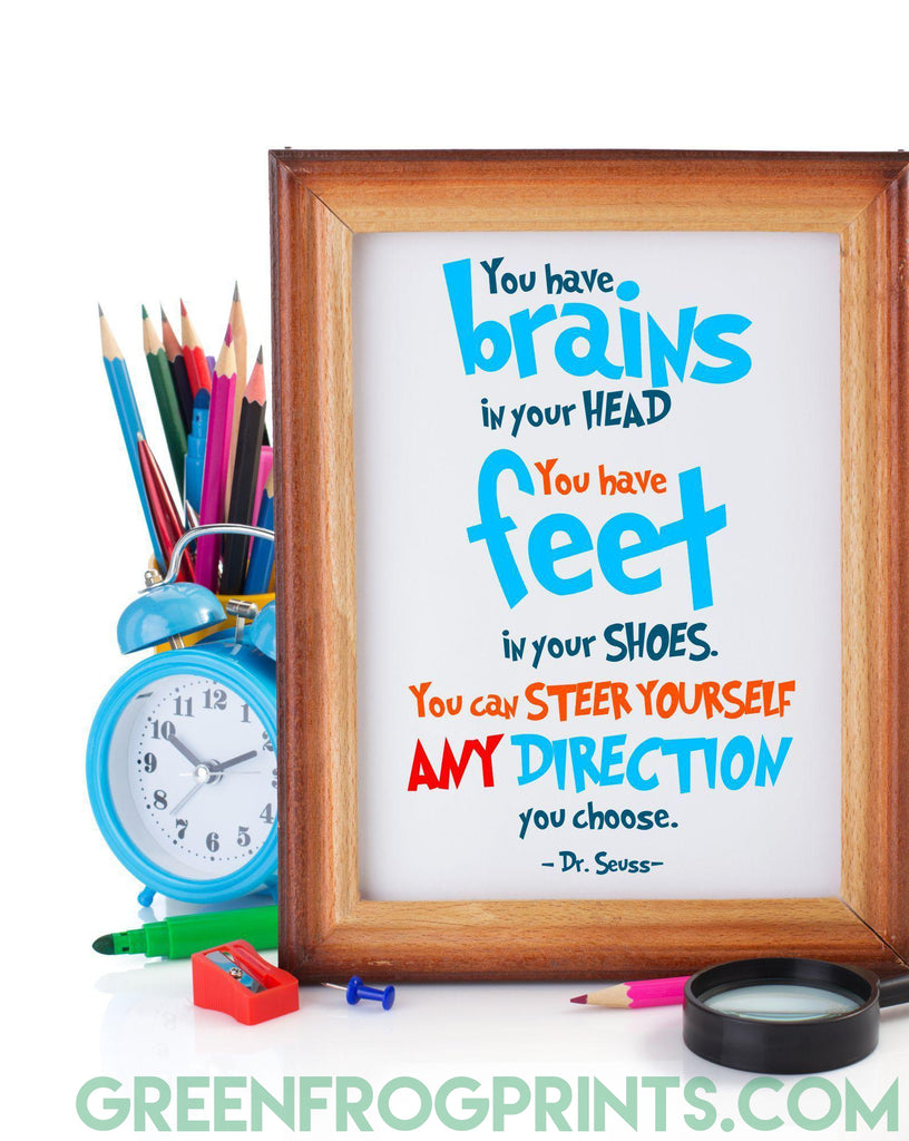 Steer Yourself Any Direction You Choose | Dr. Seuss Colorful Poster Print | Inspirational Quote For Kid's Room or School Classroom