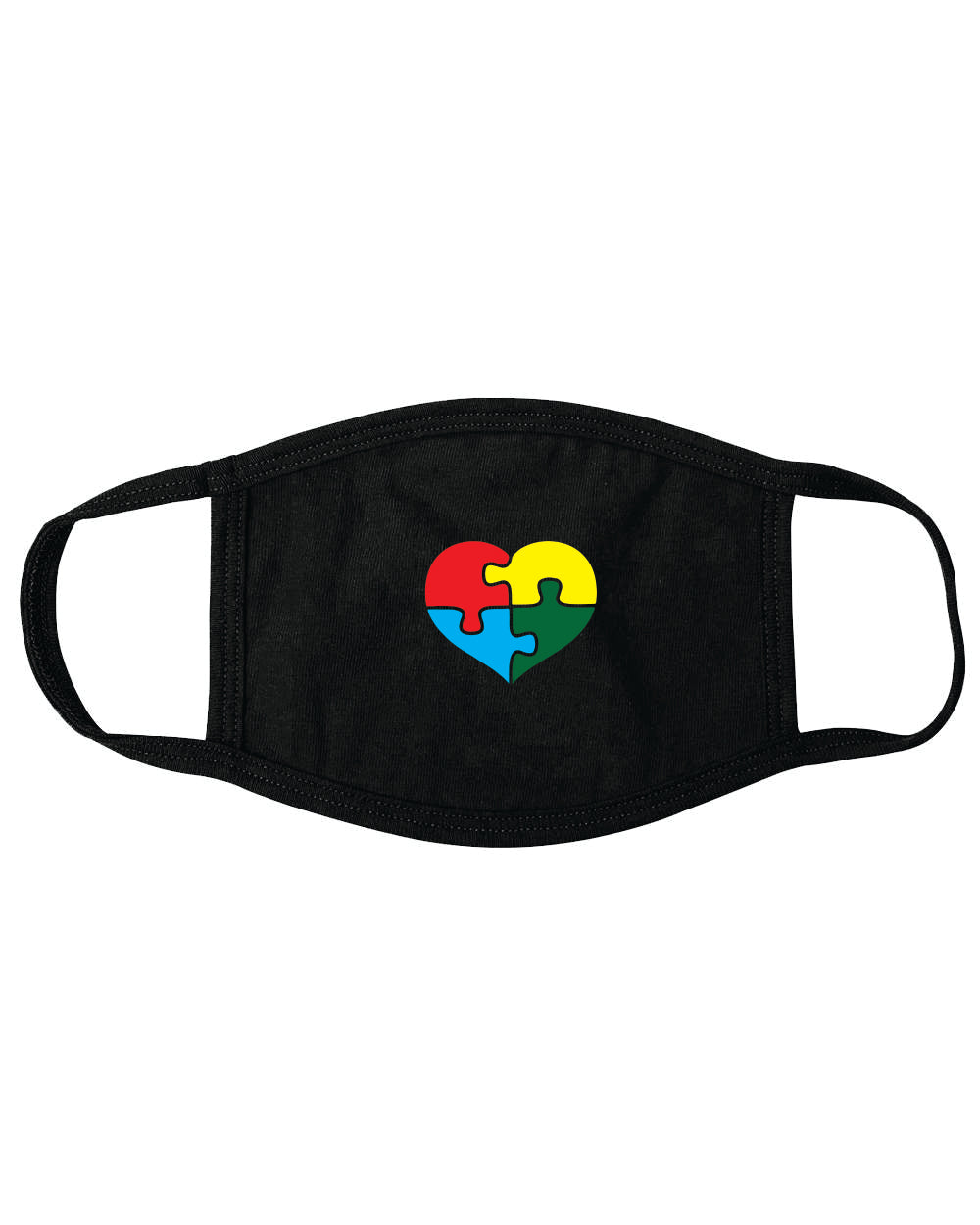 Autism Awareness MASK BLACK AUM2 - HEART