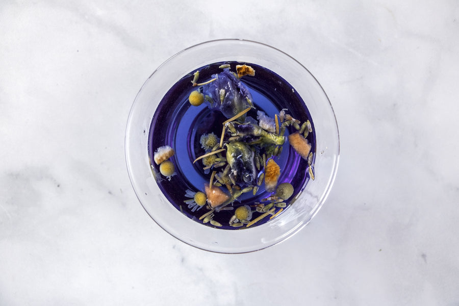 butterfly pea flower tea. herbal tea. cold brew tea. camomile tea. tea. loose leaf tea.