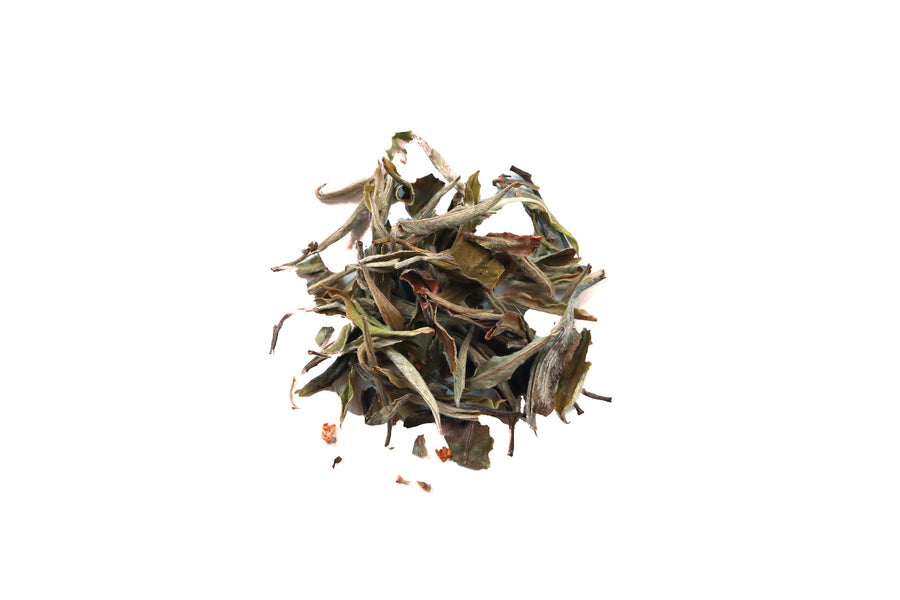 Organic white tea blend, Chinese white tea, osmanthus flower, spring tea, garden floral, peach fragrance, apricot flavor