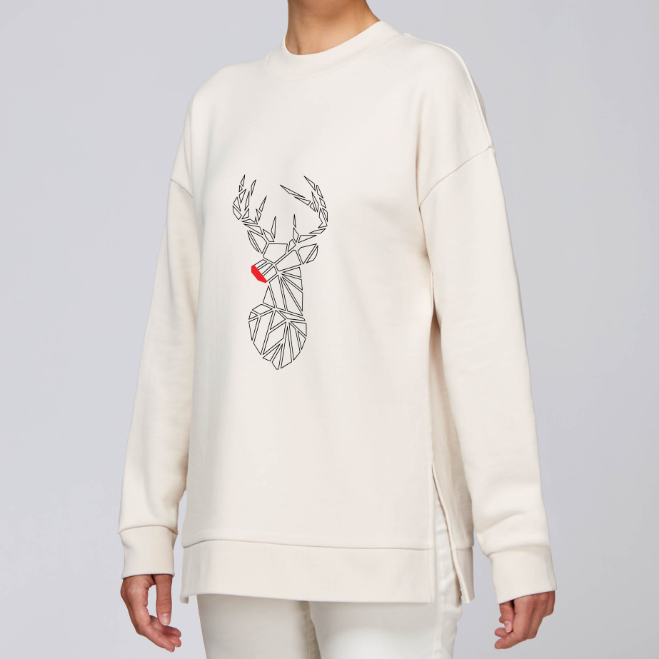 Christmas Stag Longline Sweater
