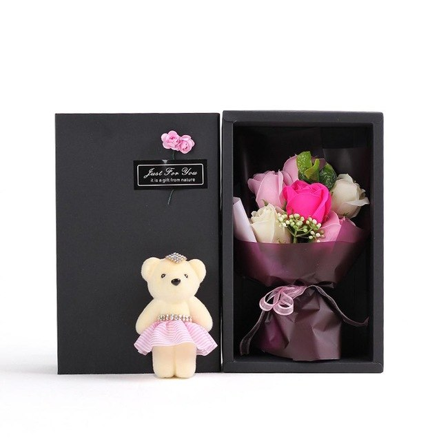 Stitch Bouquet + Soap Rose Bear Gift