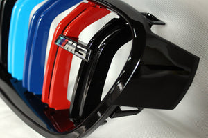 BMW F30/ F313 Series M Style Grilles - Gloss M Stripes