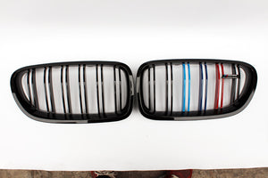 BMW F10 F18 5 Series Dual Slat Grilles - Gloss M Stripes