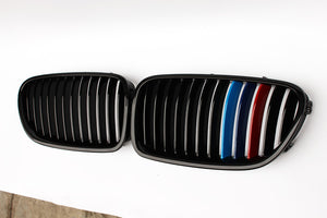 BMW F10 F18 5 Series Grilles - Gloss M Stripes