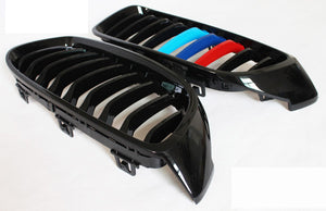 BMW F80 F82 F83 F32 F33 F36 Grills - Gloss M Stripes