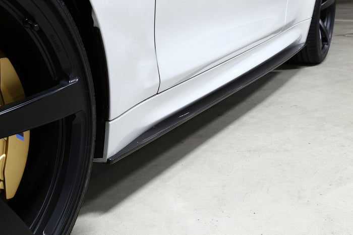 BMW F80 F82 M3 M4 3D Style Side Skirt Extensions - Carbon Fiber