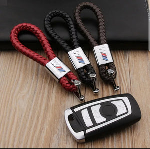 Leather Cross Weave BMW ///M Key chain
