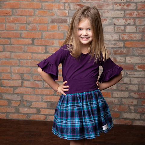 Roxie Rose Purple Ruffle Sleeve Top & Flannel Plaid Skirt