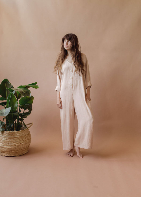 Babe Playsuit in Walnut Shell - plant dyed - Layne Collective- Layne Collective