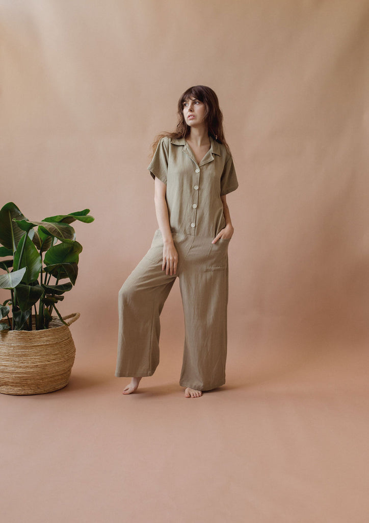 Sedona Playsuit in Palm Tree - plant dyed - Layne Collective- Layne Collective