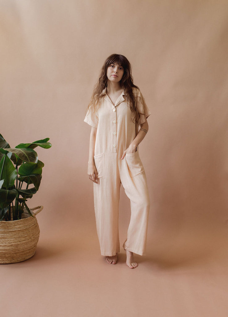 Sedona Playsuit in Baby Peach - plant dyed - Layne Collective- Layne Collective