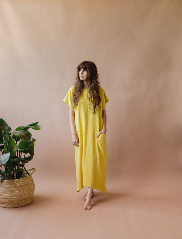 Isla Dress in Sunshine - plant dyed - Layne Collective- Layne Collective