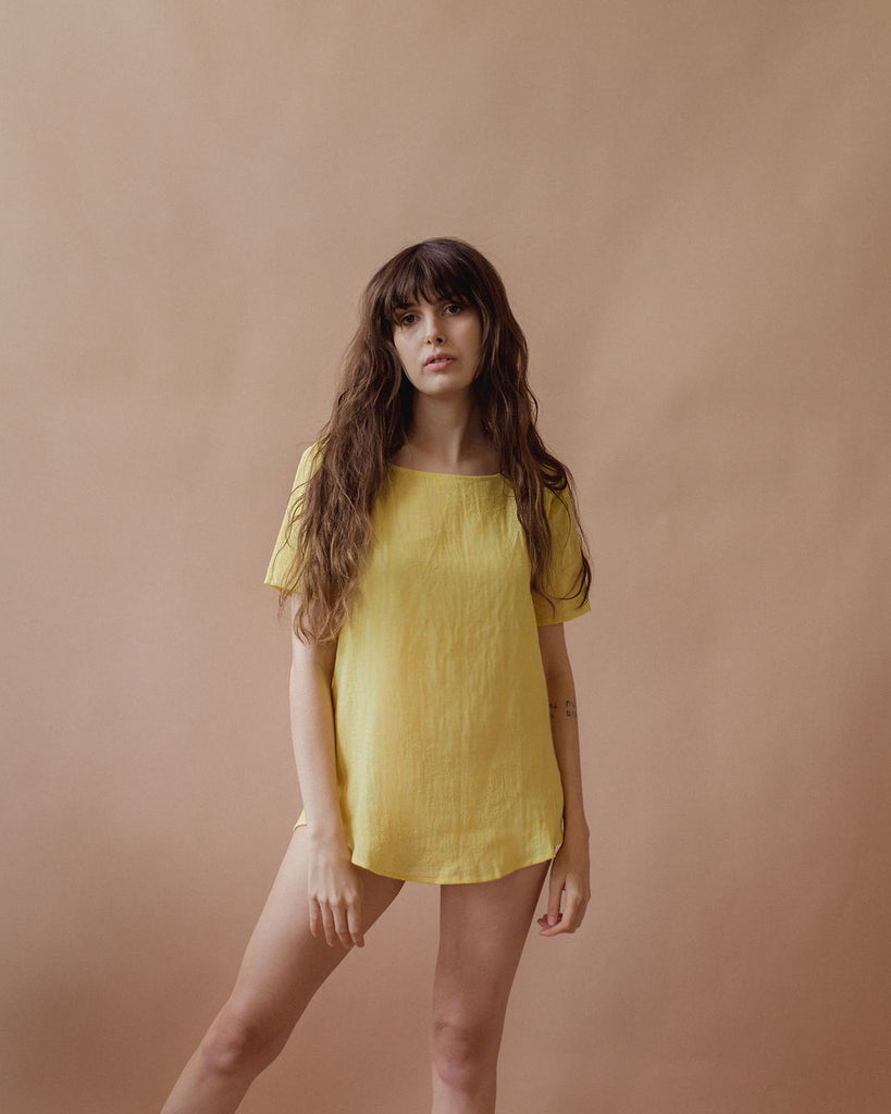 La Playa Tee in Sunshine - plant dyed - Layne Collective- Layne Collective