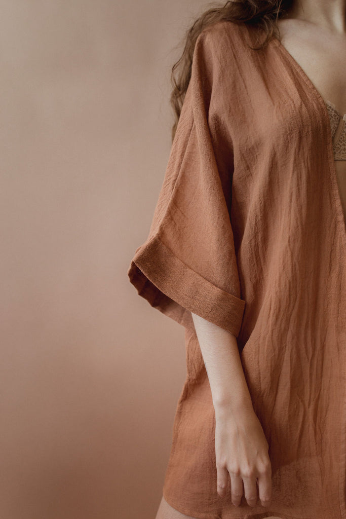 Coconut Kimono in Clay - plant dyed - Layne Collective- Layne Collective