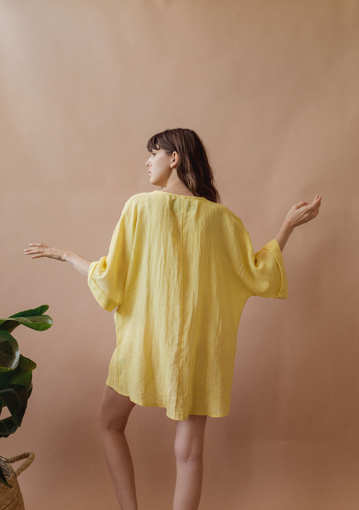 Coconut Kimono in Sunshine - plant dyed - Layne Collective- Layne Collective