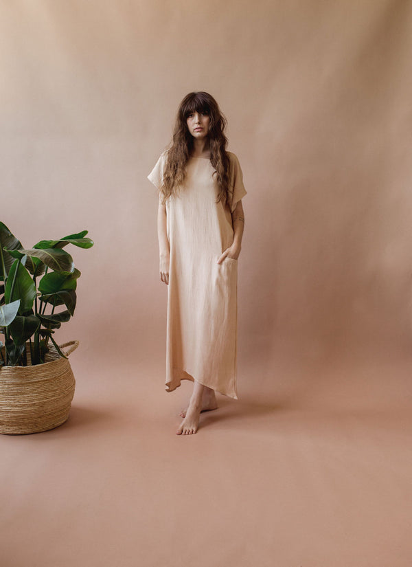 Isla Dress in Baby Peach - plant dyed - Layne Collective- Layne Collective