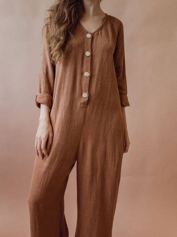 Babe Playsuit in Clay - plant dyed - Layne Collective- Layne Collective