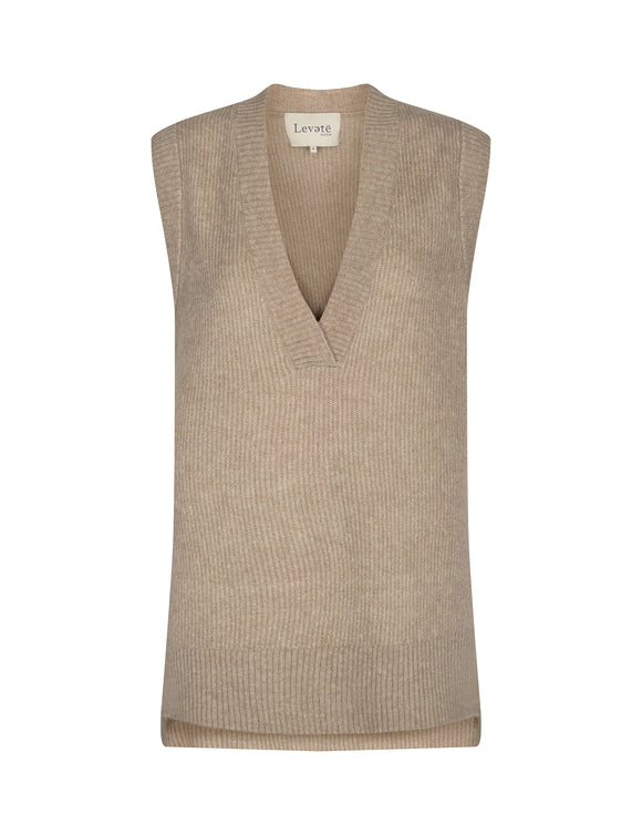 Levete Room - Cille Taupe Knitted Vest