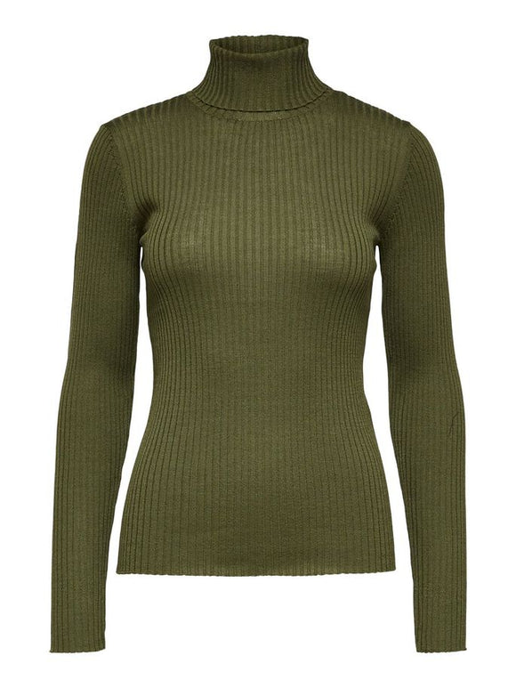 Selected Femme - Knit Rib Roll neck Winter Moss