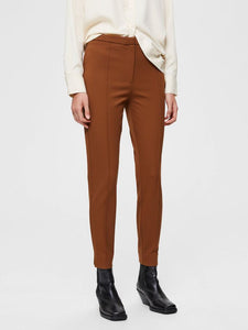 Selected Femme - Ilve Mid Waist Pin-tuck Pant in Toffee