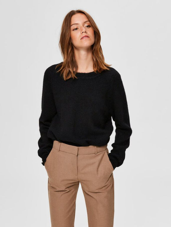 Selected Femme - LuLu Crew Neck Wool Jumper in Black