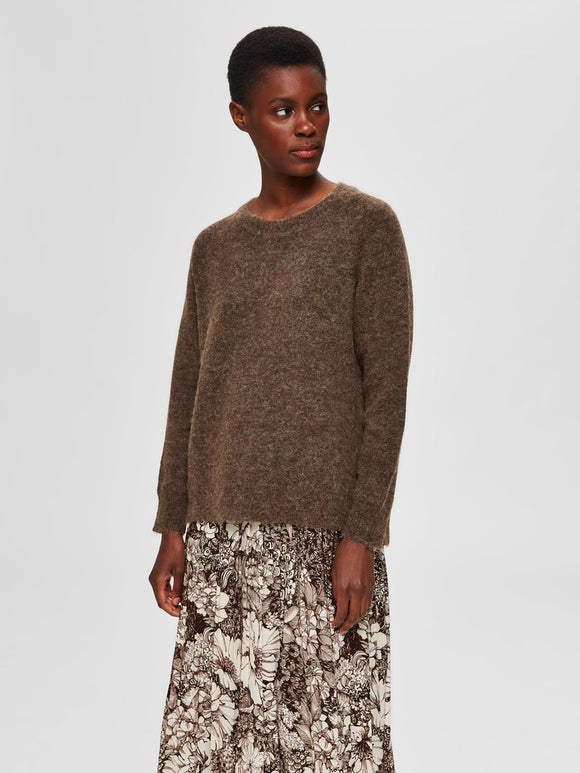 Selected Femme - LuLu Crew Neck Wool Jumper in Dachshund