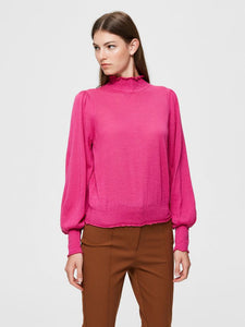 Selected Femme - Knitted Highneck Puff Sleeve Smock in Very Berry