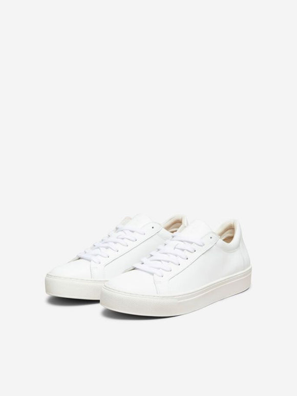 Selected Femme - Emma White Rubber Sole Leather Trainer