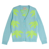 Jumper 1234 - Palm Tree Cardigan In Powder Blue And Neon Yellow