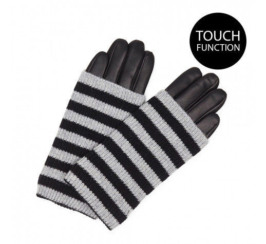 Markberg - Helly Glove in Black and Grey Stripe