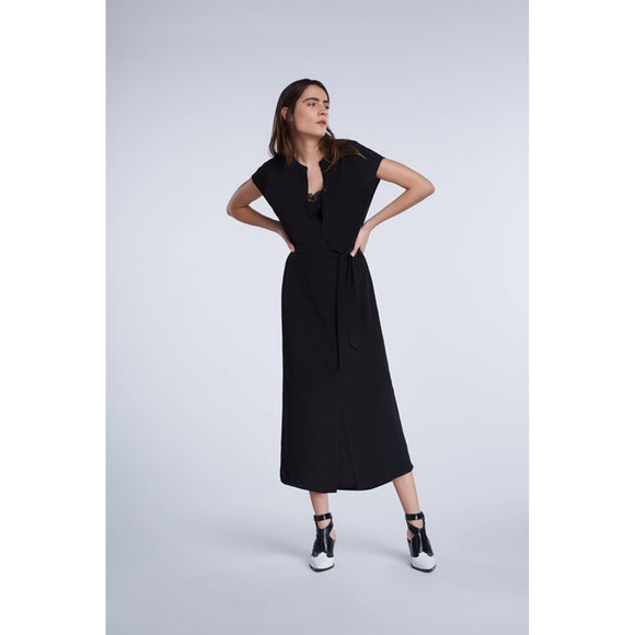 Set Fashion Maxi Dress with Continuous Button Placket in Black