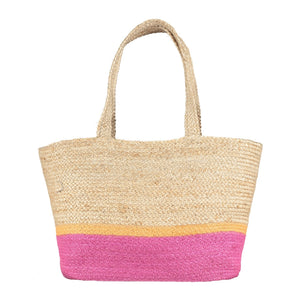 100% Organic Summer Magenta/ Orange Jute Tote Bag