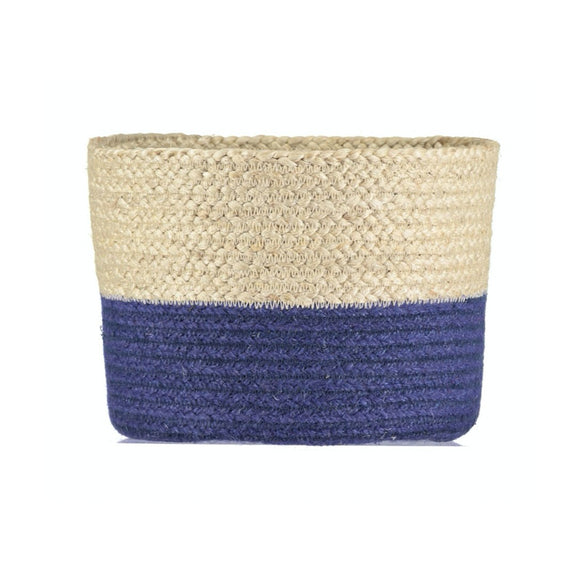 Small Calypso Blue Jute Basket