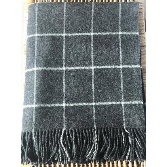 100% Merino Wool Grey & Off White Check Throw