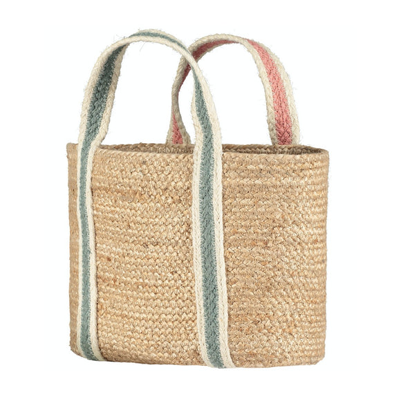 100% Organic Summer Rose/Thistle Raw Jute Large Tote