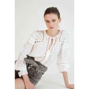 Suncoo Lorely White Fluid Hemsitched Embroidered Blouse
