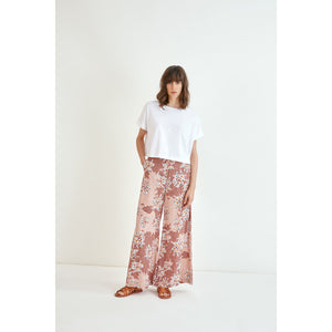 Suncoo Jerry Blush Floral Print Wide Leg Trousers