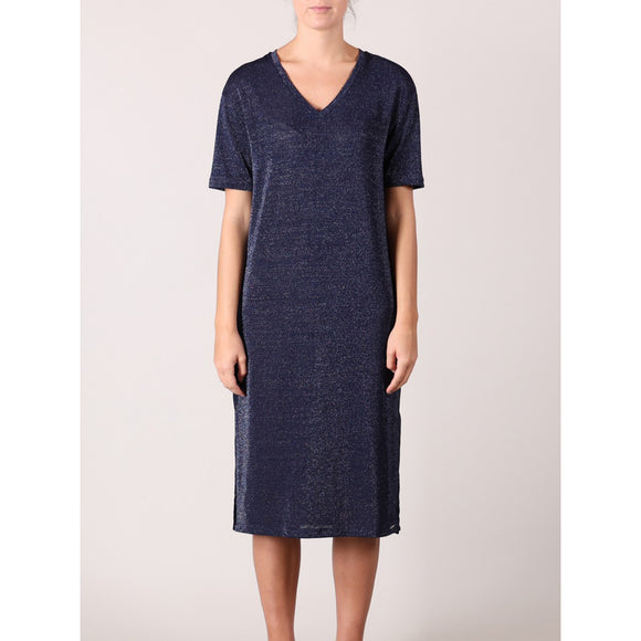 Rino & Pelle Voska Metallic V-Neck Navy Dress