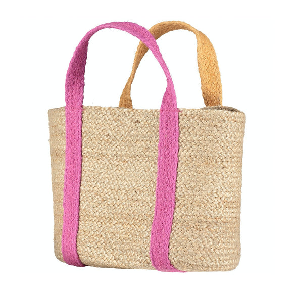 100% Organic Summer Magenta /Orange Raw Jute Tote