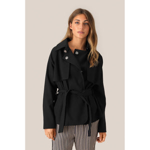 Second Female Silvia Black Short Trench Jacket