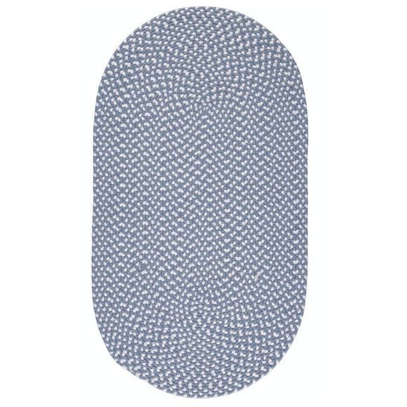 Large Eco Braided Oval Rug in Sky Blue Made From 100%  Recycled Plastic