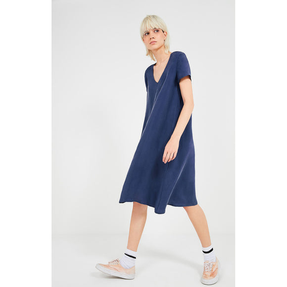American Vintage Nonogarden V-Neck T-Shirt Dress in Hurricane Blue