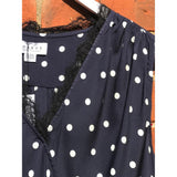 Velvet Lacy Blue and White Polka Dot V-Neck Blouse with Lace