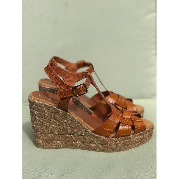 Kanna Margarita Cuero Tan Croc Wedge Sandals