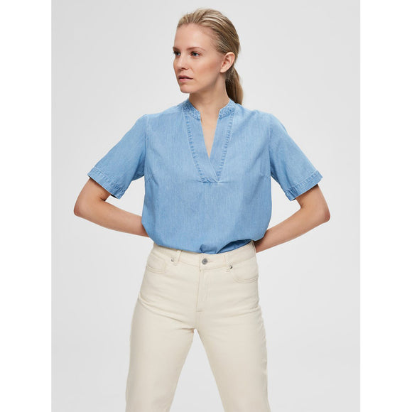 Selected Femme Light Blue V Neck Top